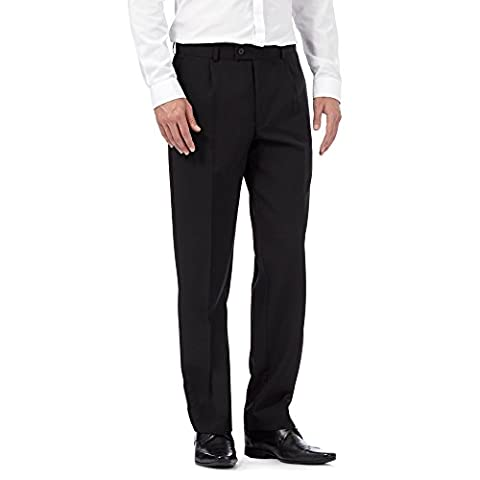 The Collection Mens Black Pleat Front Regular Trousers 36S
