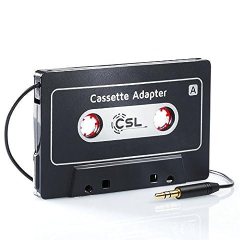 CSL - Adaptateur Universel autoradio / cassette / AUX | fiche jack 3,5 mm | pour iPod, iPhone, baladeur, lecteurs MP3, de CD, de MD ou de DAT, téléphones mobiles, smartphones, tablettes PC | noir