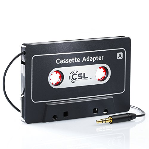 CSL HQ Autoradio-Kassetten-Adapter AUX | KFZ Autoradio / KFZ Kassenadapter | Car audio cassette adapter | 3,5 mm Klinkenbuchse | für iPod, iPhone, Discman, mp3-, CD-, MD- oder DAT-Player, Handys, Smartphones, Tablet-PCs | schwarz (matt) - Kassette Adapter Ipod Für