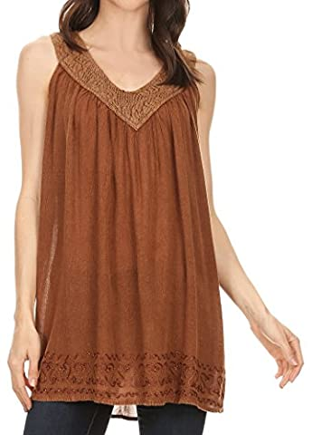 Sakkas 17521 - Maissa Sleeveless V-neck Tank Top with Crochet Trim and Embroidery - Brown - OS
