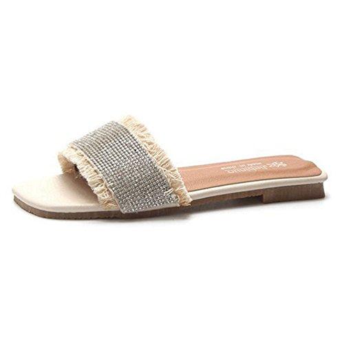 JRenok Women es Casual Open Toe Flache Sandalen Comfort Slip on Strap Pantoffeln Schuhe Soft Slide Sandalen (Open Toe Heels Nina)