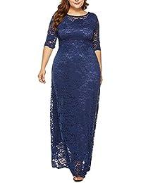 Vestido Encaje Mujer de Fiesta Elegante Largos POLP Talla Grande Vestido de Noche Invierno Vestido de Novia para Boda Mujer Gorda Mini…