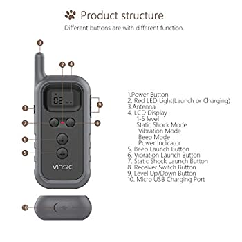 VINSIC Collier De Dressage pour Chien, Collier Anti aboiement avec Récepteur imperméable et Télécommande de 300 mètres - (5 niveux de Vibration + Electrique + Bip Sonore) - Gris foncé