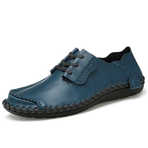 Eagsouni Herren Mokassins Leder Slipper Slip Ons Freizeit Loafer Schuhe Blau 38 (Loafer-slip-ons)