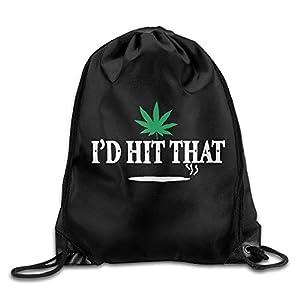 engzhoushi Zaino con Coulisse,Sacchetto,Borsa Palestra Unisex Bag I'd Hit That Marijuana Pot Weed Stoner Drawstring Backpack