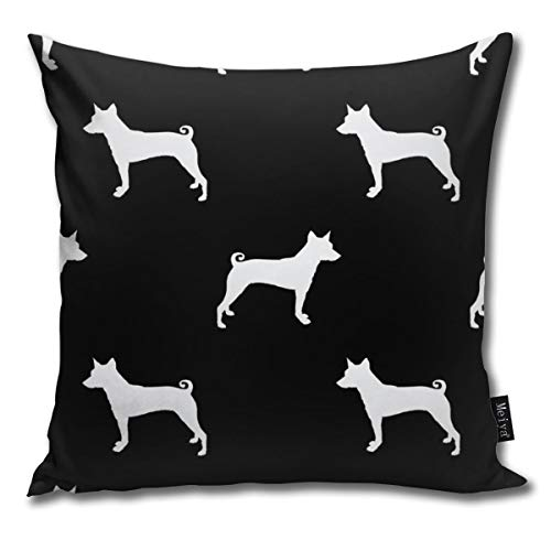 Basenji Silhouette Dog Breed Black and White Comfortable Soft Bed Pillow Case Household Pillow Case Office Bolster 18x18 Inches (Hug Pillow Sex)