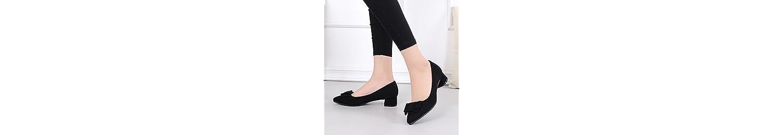 KPHY-Zapatos De Mujer Autumn Bajas 3 Cm Expuestos Los Dedos De Los Pies Apuntó Rough Heels Único Medio De Tacon... -