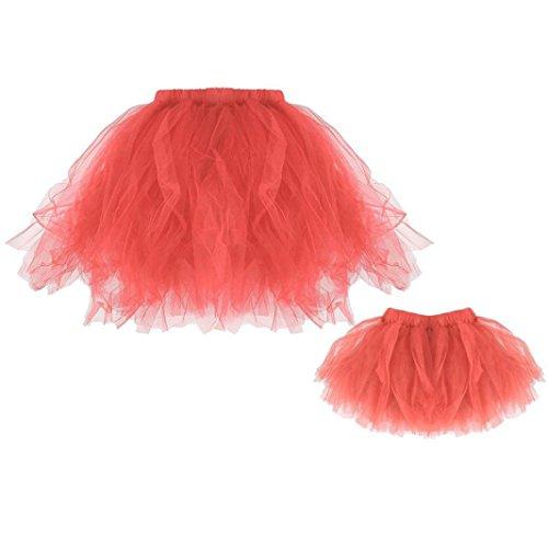 Kleid Damen,Binggong Tütü Damen Tüllrock Mädchen Ballet Unterrock Ballett Kostüm Tüll Röcke Festliche Pettiskirt Ballerina Petticoat Dirndl Tutu Rock (Baby + Mutter, Wassermelone)