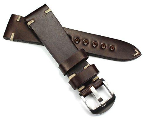 22mm 22/18mm terra Shell Cordovan RIOS1931 dunkel braun kräftiges Military Style Armband Retro Look quality STRAP Flieger Band Top Qualität