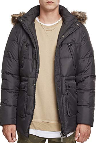 Urban Classics Herren Faux Fur Hooded Jacket Jacke, Schwarz (Black 00007), M Coated Twill Jacket