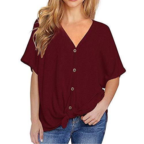 UYSDF Solides kurzärmeliges Damen T-Shirt mit V-Ausschnitt und Knopfleiste lose Krawattenhemd 2019