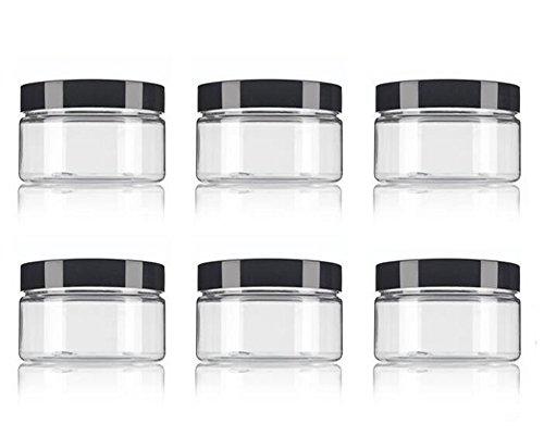 12 Balsame (6 Stück 8 Oz / 250ml PET Kunststoff nachfüllbare Gläser leere Kosmetikbehälter Fällen mit schwarzem Deckel bilden Flasche Lebensmittel Flasche Topf Jar für Lippenbalsam Kosmetik Lidschatten Pulver)