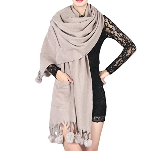 UK_Stone Damen 100% Wolle Einfarbig Tasche Schal Halstuch Gross Glaenzend Glitzer Abendkleidung Stola mit Bommel (Hellgrau) (Wolle Solid Modische)