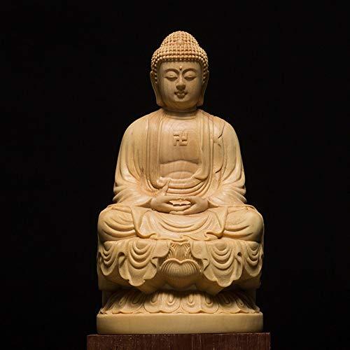 DAJIADS Figur Figuren Statue Statuen Statuette Exquisite Japan Carving Buddha Statue Buddha Statue Der Göttin Handwerk Guanyin Feng Shui Dekoration Schnitzen Dekoration, 10 cm Carving Japan