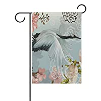 AMONKA Flying Elegant White Japanese Crane Garden Flag Double Sided Polyester Yard Flag for Home House Outdoor Decoration 28x40 Inch