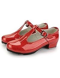 Silencio @ las mujeres de charol zapatos de claqué con parte superior con buckie, rojo, US6 / EU36 / UK4 / CN36