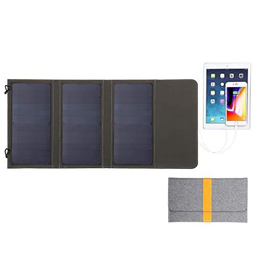 Parametros del producto:  [nombre] paquete plegable de carga solar de tres tableros 21W  [Material] PET, tela de PVC  [Potencia] 21W, 5V / 2.9A (máximo)  【Color: gris  [Características] Impermeable, a prueba de polvo, protector solar, resistente a la...