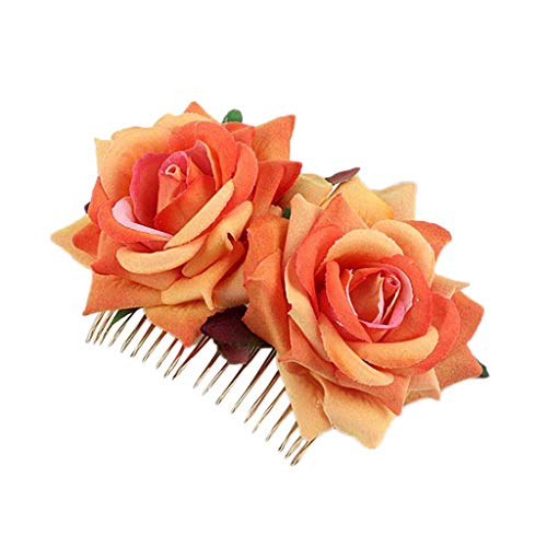 Bobopai Beautiful Ladies Bridal Flower Hair Comb Wedding Accessories Red Rose Hairpin Hair Clip Gift Jewelry (Orange) -
