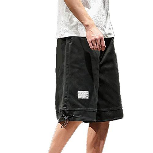 Cargo Shorts Herren Chino Kurze Hose Sommer Bermuda Sport Jogging Training Stretch Shorts Fitness Vintage Regular Qmber,Gerade einfarbige Hosen/Schwarz,M -