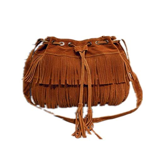 BARBEDINGROSE Schultertasche, Crossbody Bag, Tassel Bag, New Handbag Shoulder Bag Retro Faux Suede Tassel Crossbody Bag, Casual Everyday, Female,Brown