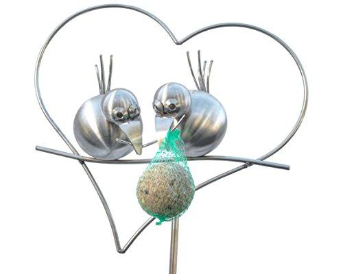 Edelstahl Gartenstecker und Rankhilfe, 165 cm hoch. Coco und ZIPPI als Meisenknödelhalter im Herz. EIN Geschenk für Vater Mutter oder Freundin. Die Dekoration für den Garten auch im Winter.