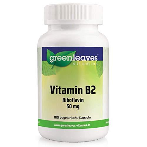 Greenleaves vitamins - Vitamin B2 100 vegetarische Kapseln Riboflavin 50 mg - vitamine b gegen müdigkeit und erschöpfung
