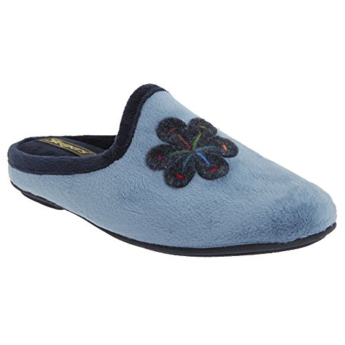Sleepers Theronda - Chaussons mules à motif floral - Femme Bleu/Bleu marine