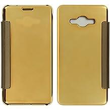 Avizar Custodia, Custodia Foglio Specchio Oro Ultrasottile per Samsung Galaxy J3