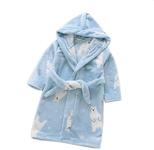 n Kapuzen-Bademantel Unisex Kleinkinder Morgenmantel Weichem Flanell Pyjamas Nachtwäsche Nachthemd Größe 90 Eisbär ()