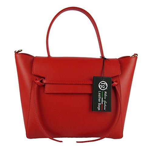 Sac femme en cuir élégant made in italy ceinture ispired rouge