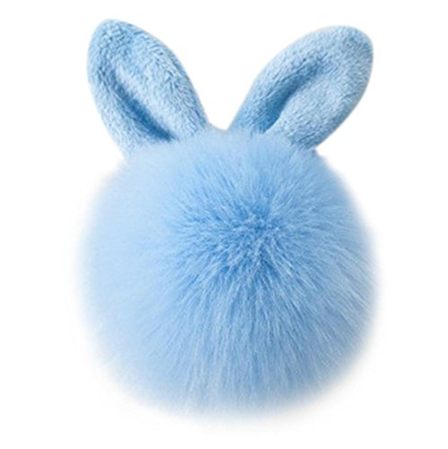 Covermason Cute Faux Rabbit Fur Ball Charm Car Keychain Handbag Key Ring (Blue)