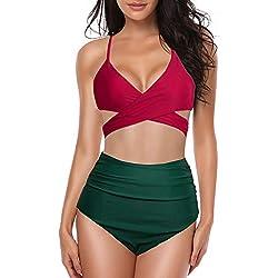 KPILP Maillots de Bain 2 Pièces Sexy Bikini - Femme Couleur Unie Impression Printemps et Eté La Mode Les Loisirs Confortable Femme Sexy Taille Haute Confortable Maillots Deux Pièces