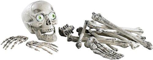 infactory Deko Knochen: 18-teiliges Grusel-Skelett: Totenschädel & Knochen mit Sound (Halloween Deko mit Bewegungssensor) (Halloween Animierte Deko)