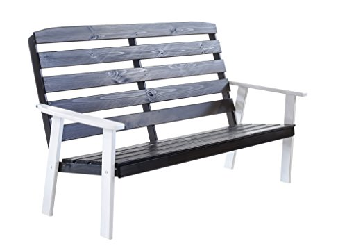 Ambientehome 90332 3-er Bank Gartenbank Holzbank Loungebank Massivholz Hanko Maxi, weiß / grau
