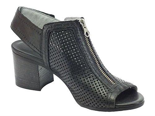 Nero Giardini NeroGiardini Sandali Donna in Pelle Traforata Nera Tacco Medio Nero