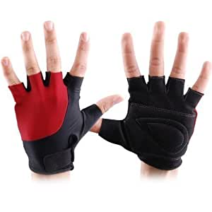 MAXSTRENGTH ® Small R/B Cycling Gloves Mens Fingerless Weight Lifting Fitness Home Gym Training Ladies Exercise BMX Mountain Motorcycle Bike Mitts.