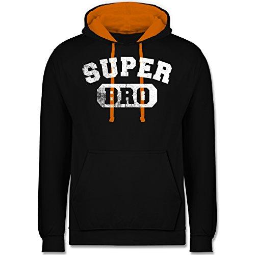 Bruder & Onkel - Super Bro - Vintage-&Collegestil - Kontrast Hoodie Schwarz/Orange