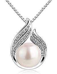 "B.Catcher Pearl Necklace Freshwater Bud 925 Sterling Silver ""Hug with Pearl"" Pendant Necklaces 18"" for Women Pearl Jewellery"