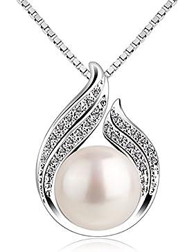 B.Catcher Perle Kette Damen Silber Halskette Anhänger Doppelt Blatt Süßwasser Zuchtperle 925 Sterling Silber Schmuck...
