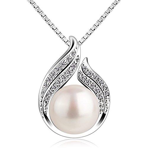 B.Catcher Kette Damen Perle Halskette Anhänger 925 Sterling Silber ''Du bist wunderschön'' Schmuck 45CM Kettenlänge Geschenk für Damen
