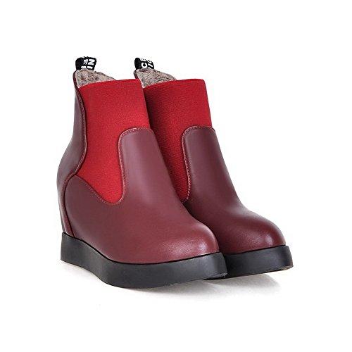 Absatz Rot Leder Stiefel Damen Niedrig spitze Spitz Zehe Hoher Rein Voguezone009 Pu BnUaP