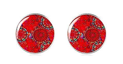 Tizi Jewellery 925 Sterling Silber RoteOhrstecker 12 mm Handgemacht für