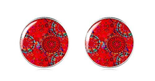 Tizi Jewellery 925 Sterling Silber RoteOhrstecker 12 mm Handgemacht für Damen und Mädchen perfektes Geschenk oder für Party