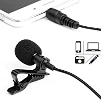 Microfono per Smartphone,PEMOTech Mini Microfono Condensatore Lavalier Risvolto Omnidirezionale 3.5mm con 2 adattatore per Android, iPhone, PC e Line-in Registratore