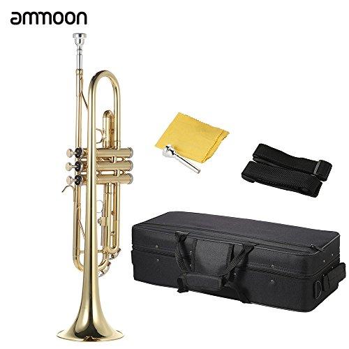 ammoon Trompeta Bb B Latón Plano Pintado de Oro Exquisito Durable Instrumento Musical Boquilla Guantes Correa Caso