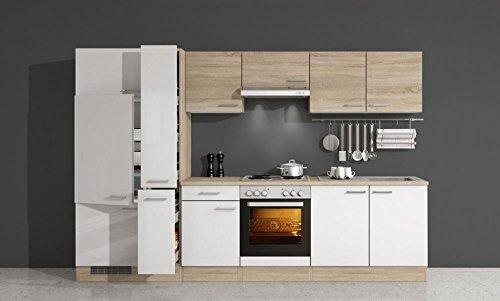 Küchenzeile 300 cm Sonoma Eiche Weiß mit Geräten – Salerno