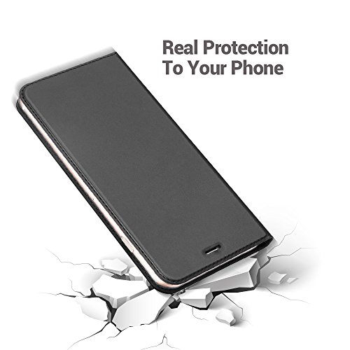 iPhone 8custodia, iPhone 7custodia a portafoglio, Radoo® Premium New Style PU [ultra-slim] Flip custodia in TPU antiurto scocca interna [con carta slot] [chiusura magnetica] funzione flip custodia a Black grey