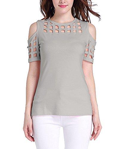 Zixing camicia da donna per l'estate senza spalline camicia a maniche corte t-shirt manica corta camicetta elegante felpe donna ragazze pullover tops grigio 2xl