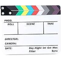 Neewer Claqueta de Director de película para marcadores Lavables de plástico acrílico de 8x7 pulgadas/20x16 centímetros para Cortar escenas con Barras de Colores