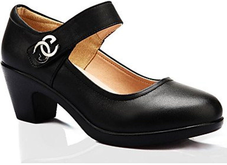 Zormey Frauen Heels Formelle Schuhe Leder Fr¨¹1;hling Herbst B¨¹1;ro & Amp Karriere Ferse Schwarz 5 In & ¨¹1;ber